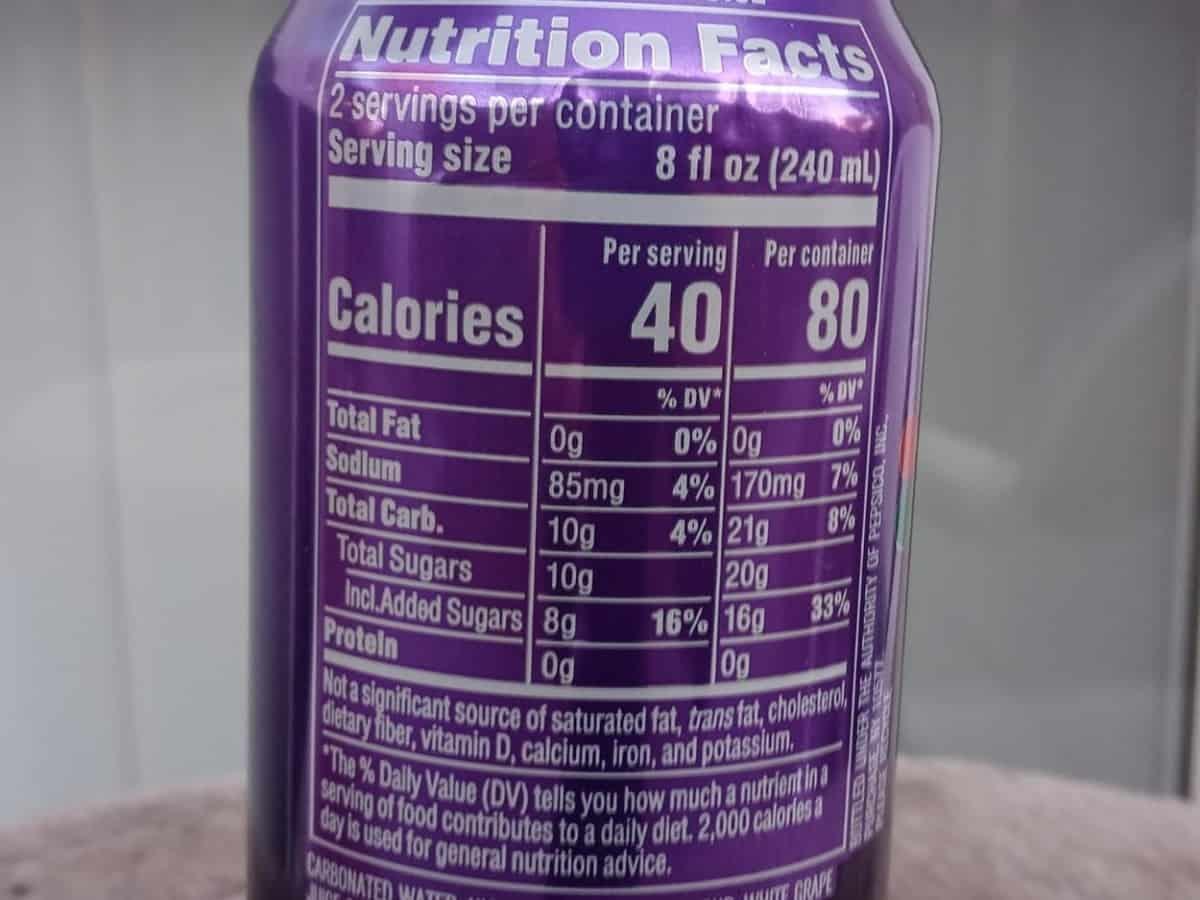 Nutrition Facts of Kickstart