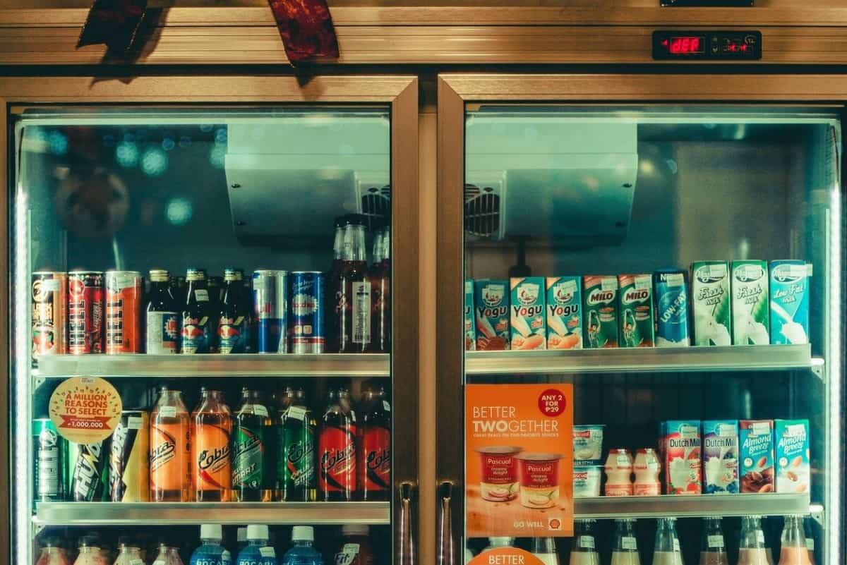 Store fridge containing drinks