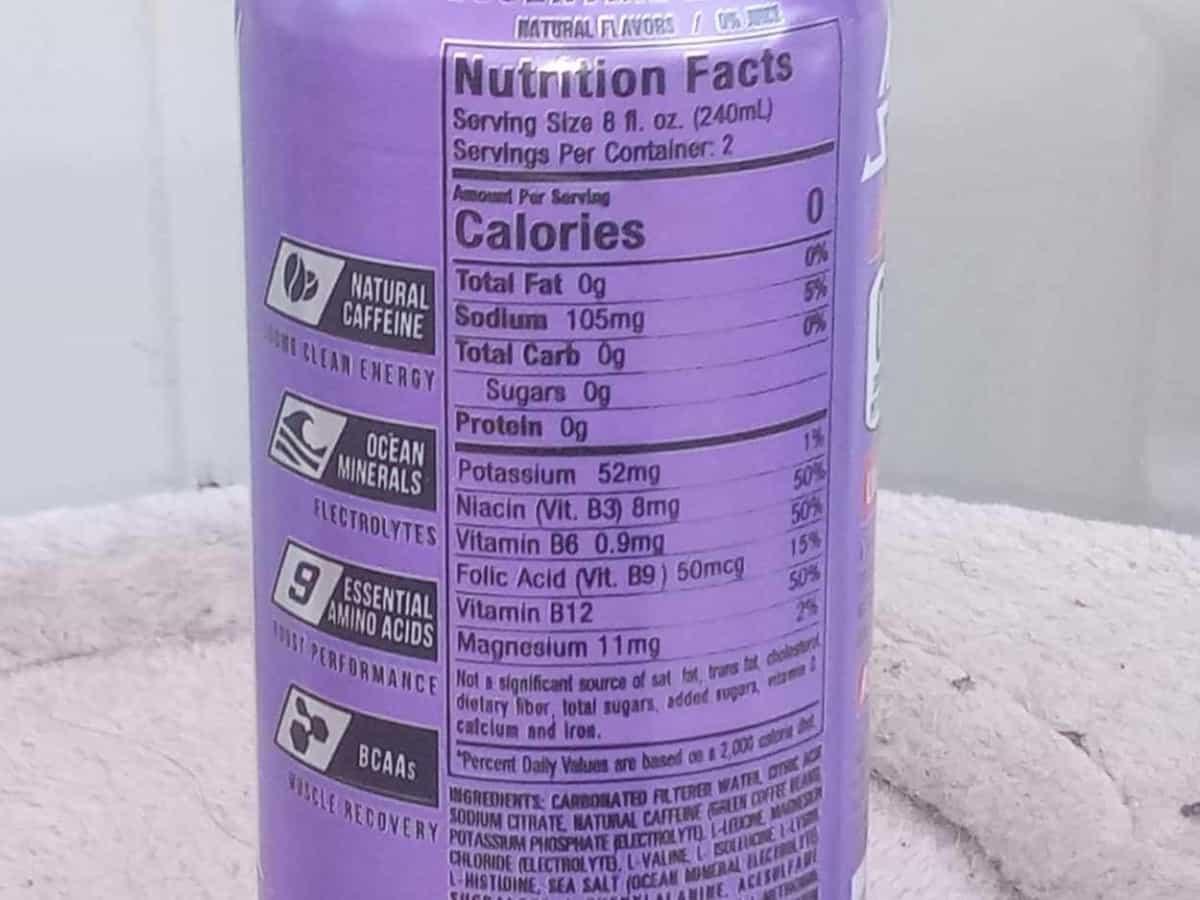 Adrenaline Shoc nutrition facts label