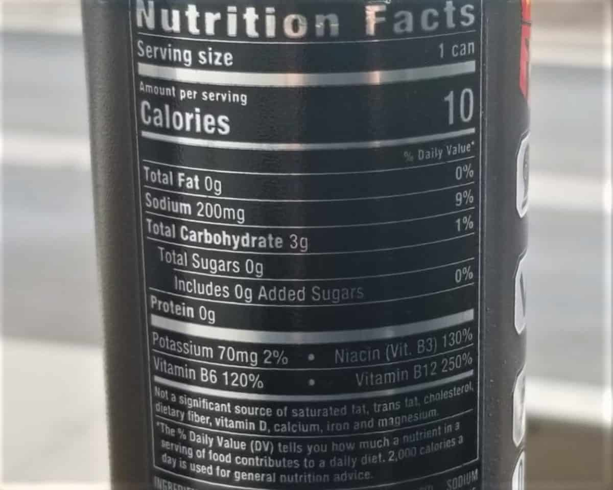 Reign Nutrition Facts