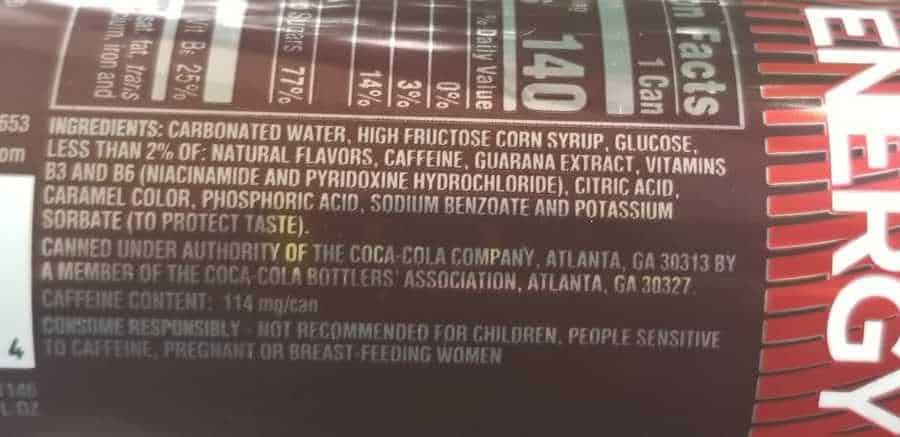 Coca Cola Energy Drink Ingredients