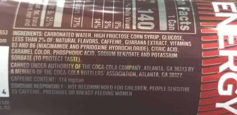 List of ingredients in Coca Cola Energy