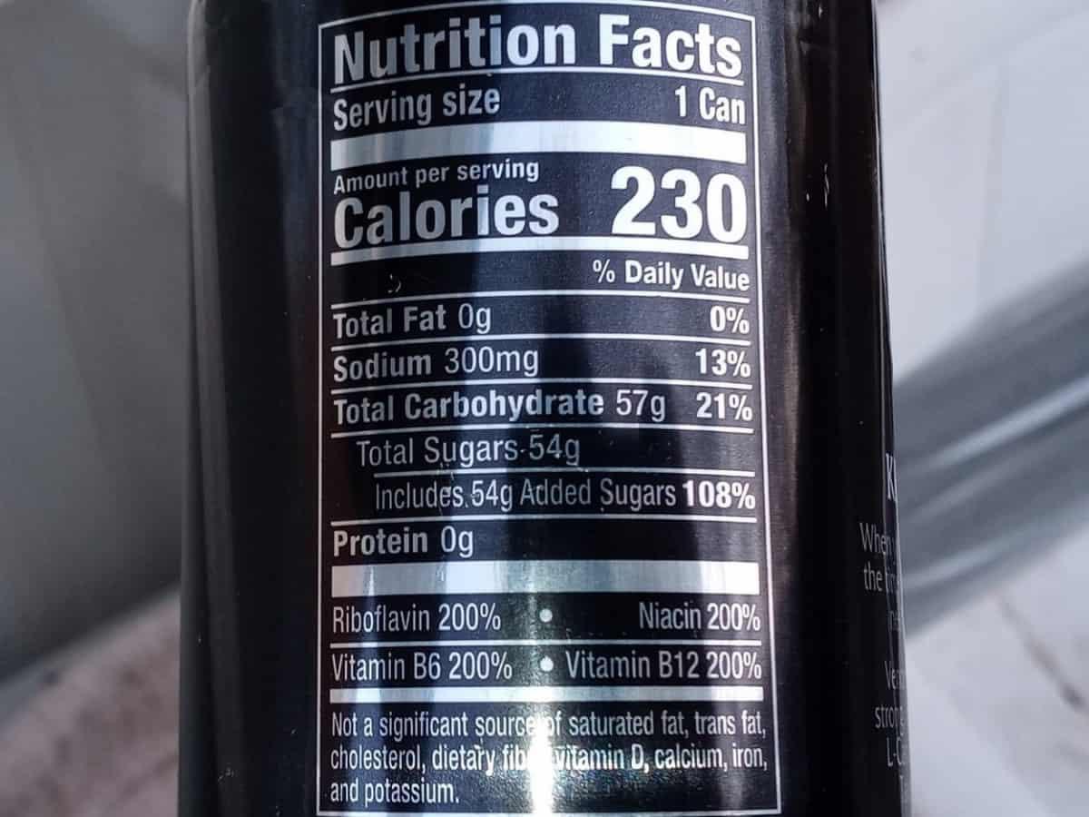 Nutrition Facts Venom Energy