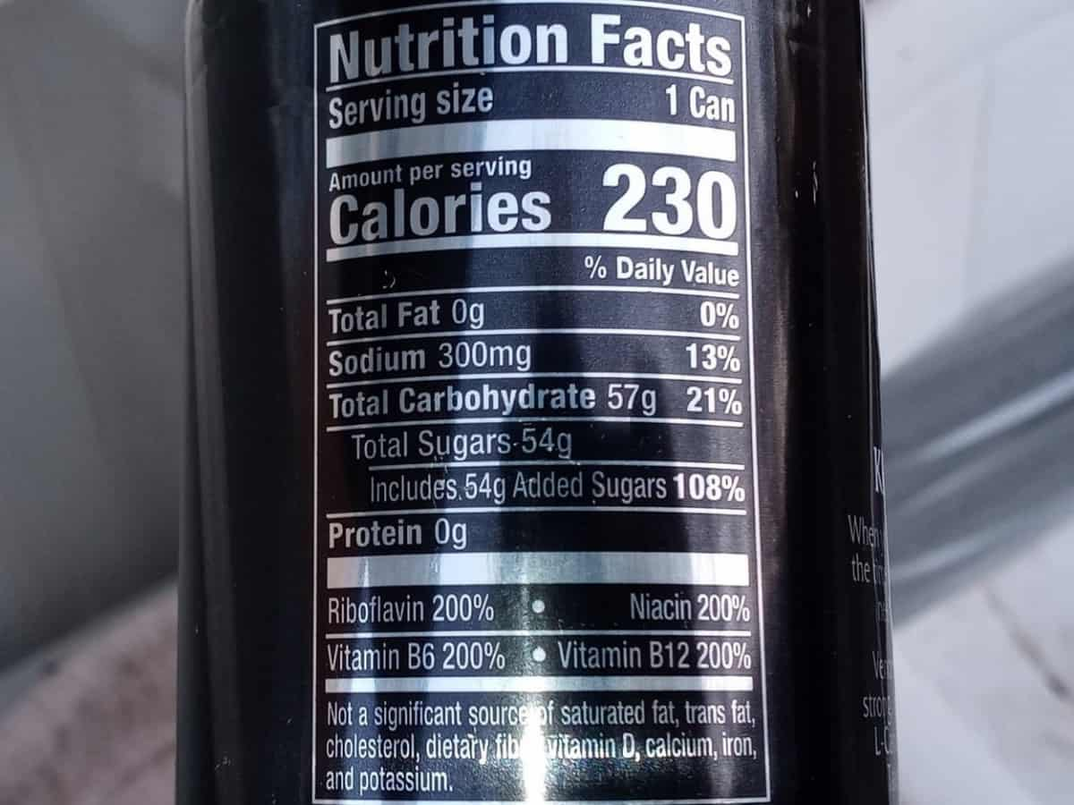 Venom Nutrition Facts