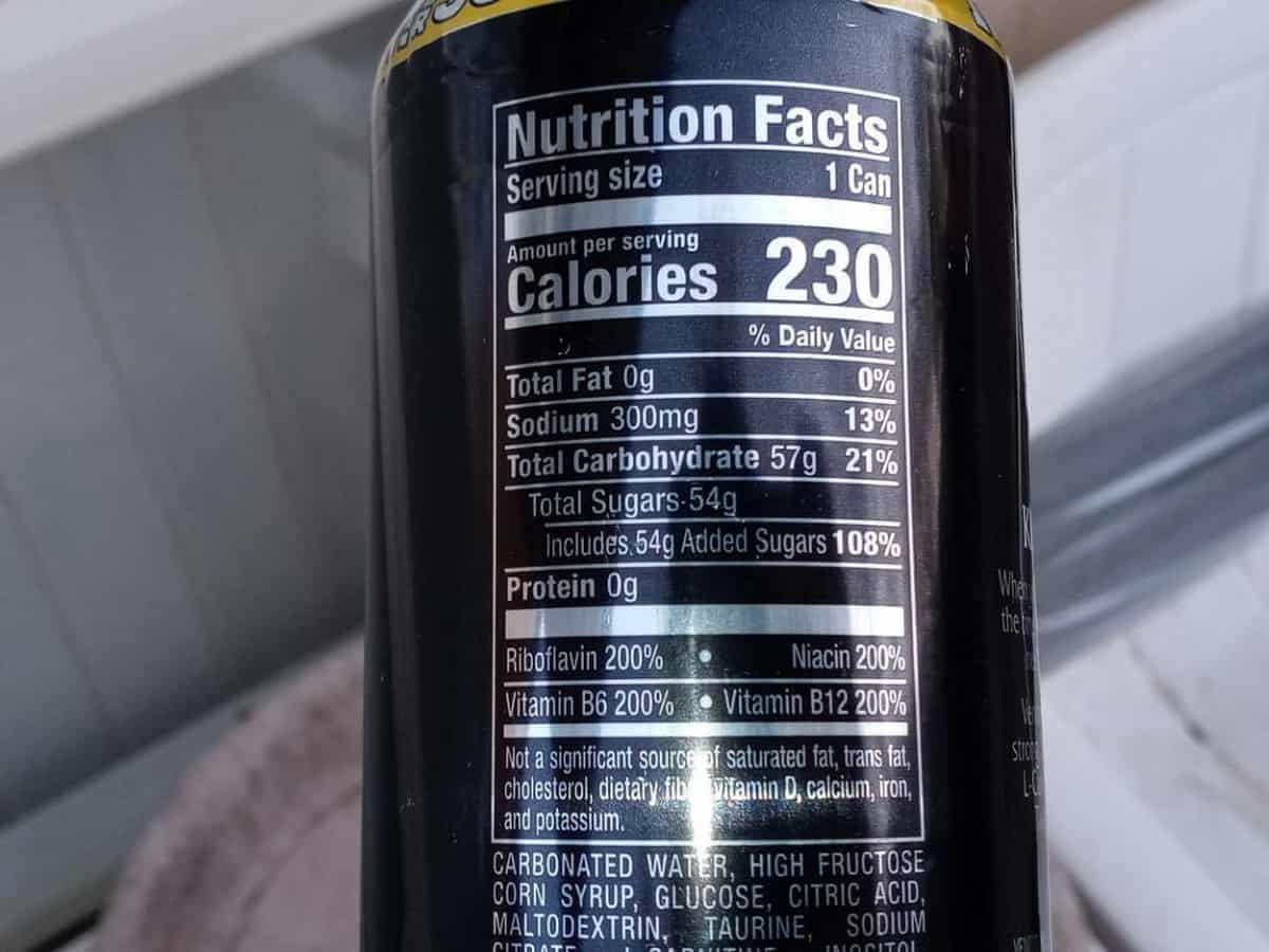 Nutrition Facts Label of Venom Energy Drink at the Back of the Can