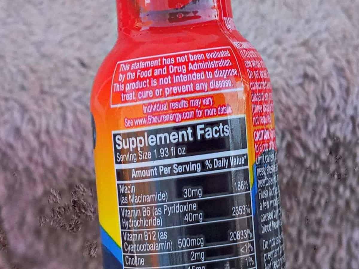 The back of 5-Hour Energy's Bottle