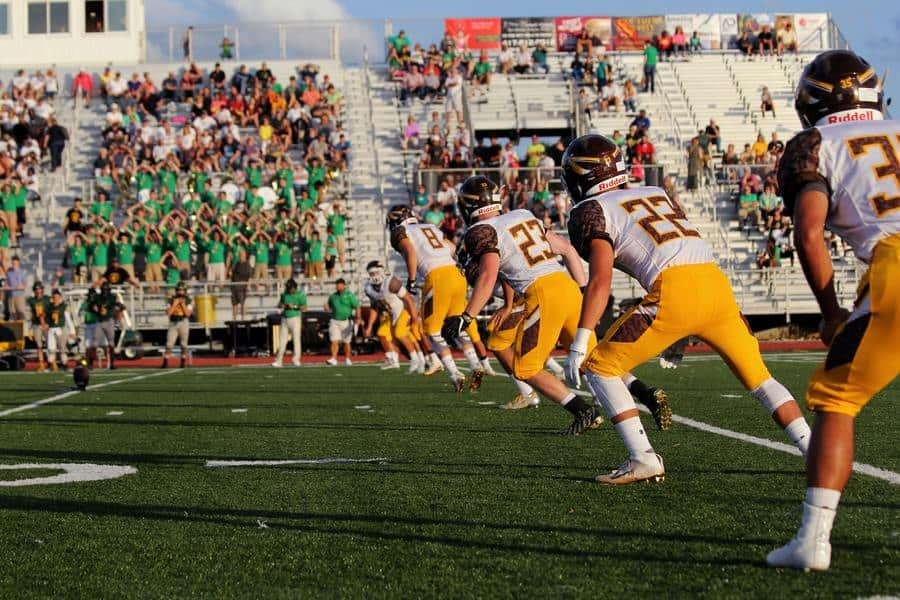 American football players on the fiel