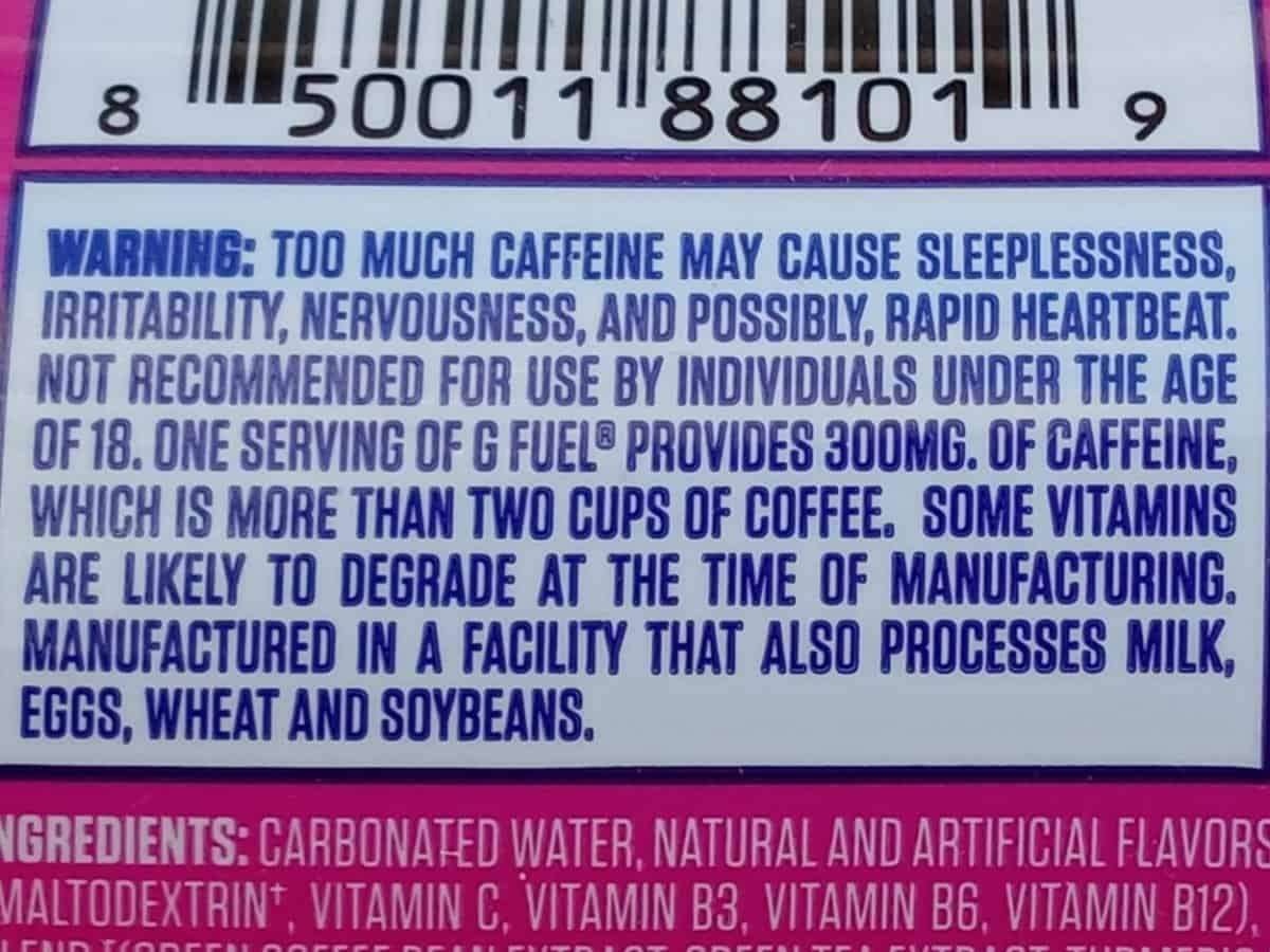 G Fuel Can Warning Label