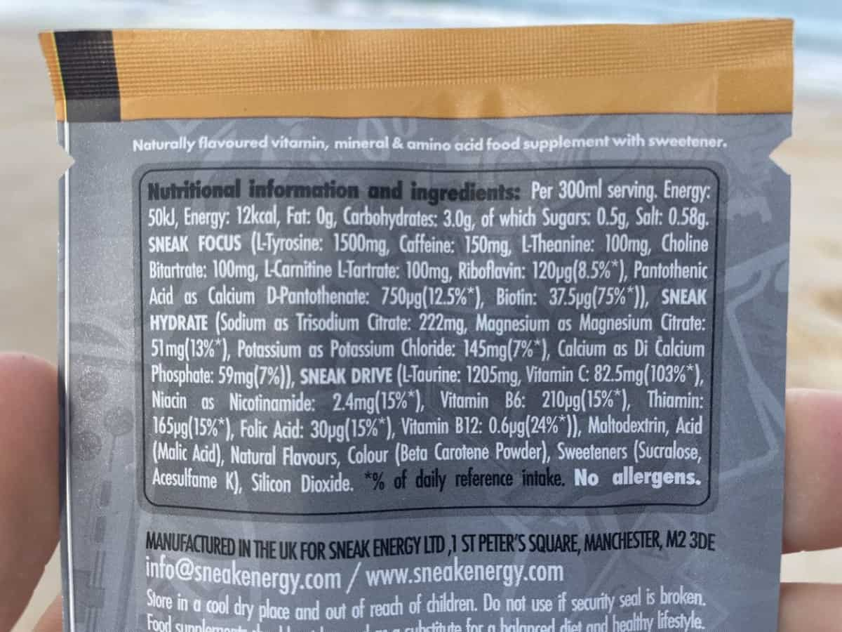 Sneak Ingredients and Nutrition Facts