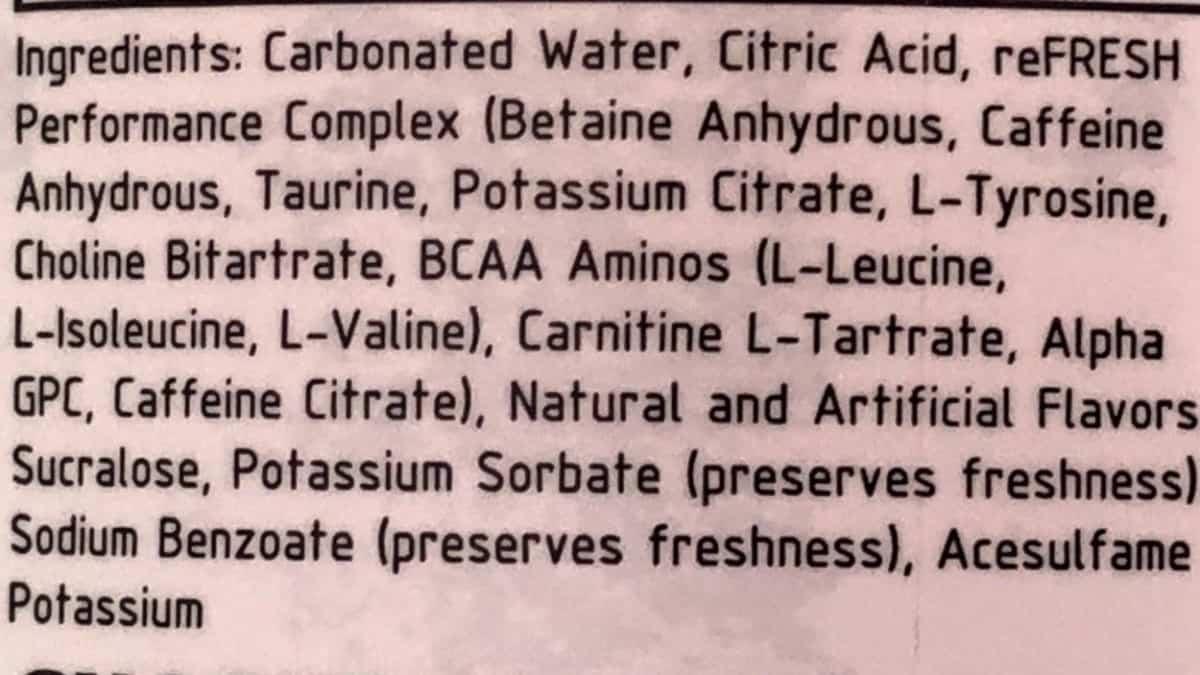 Raze Ingredients list