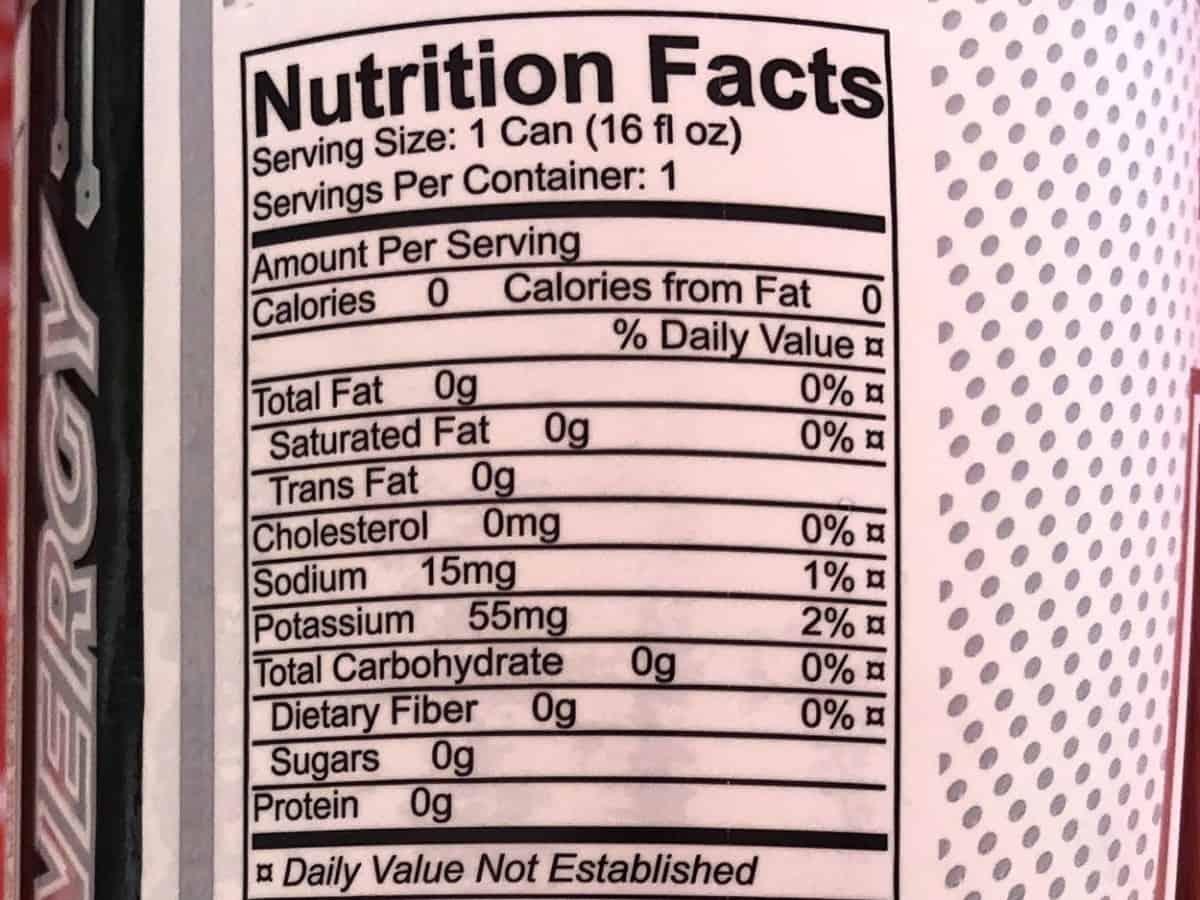 RAZE Nutrition Facts