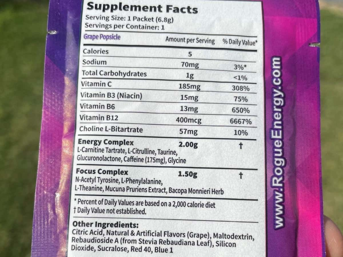 Rogue Energy Nutrition Facts