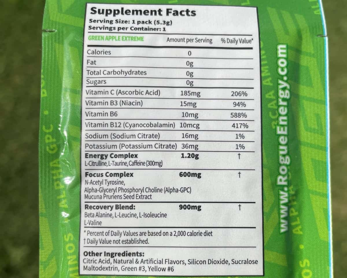 Rogue Nutrition Facts