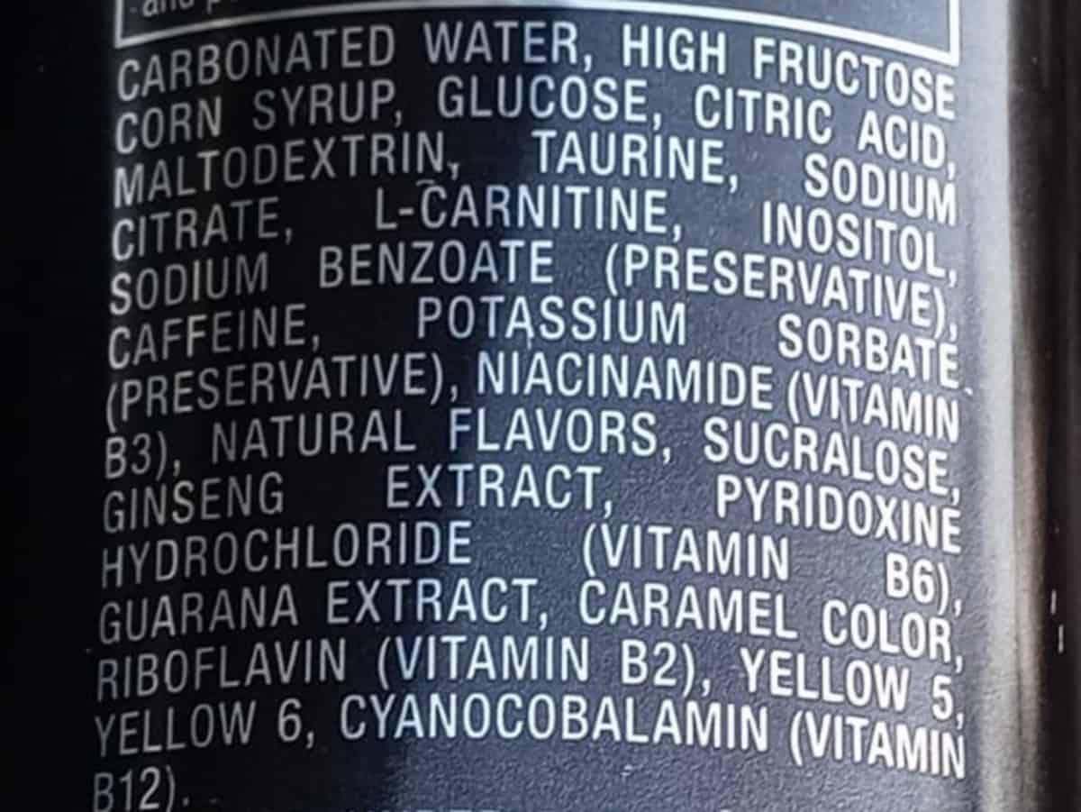 Venom Energy Ingredients
