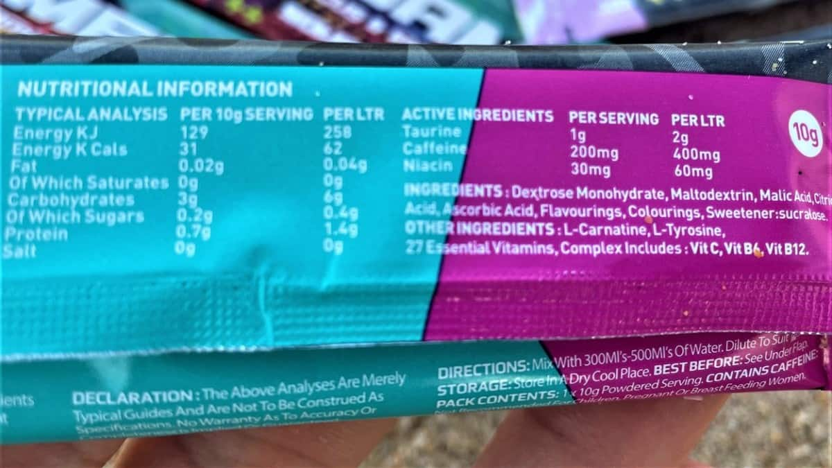 X-Gamer Nutrition Facts and Ingredients