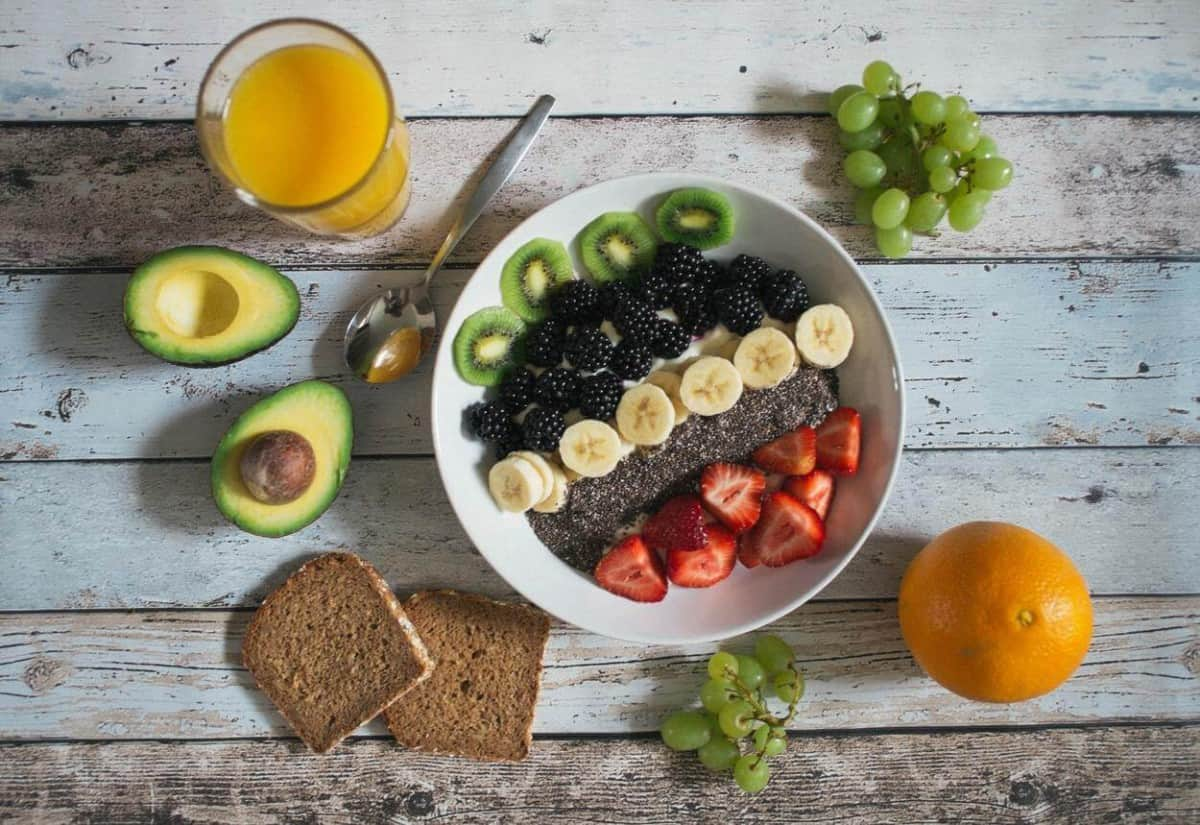 Fruits and bread