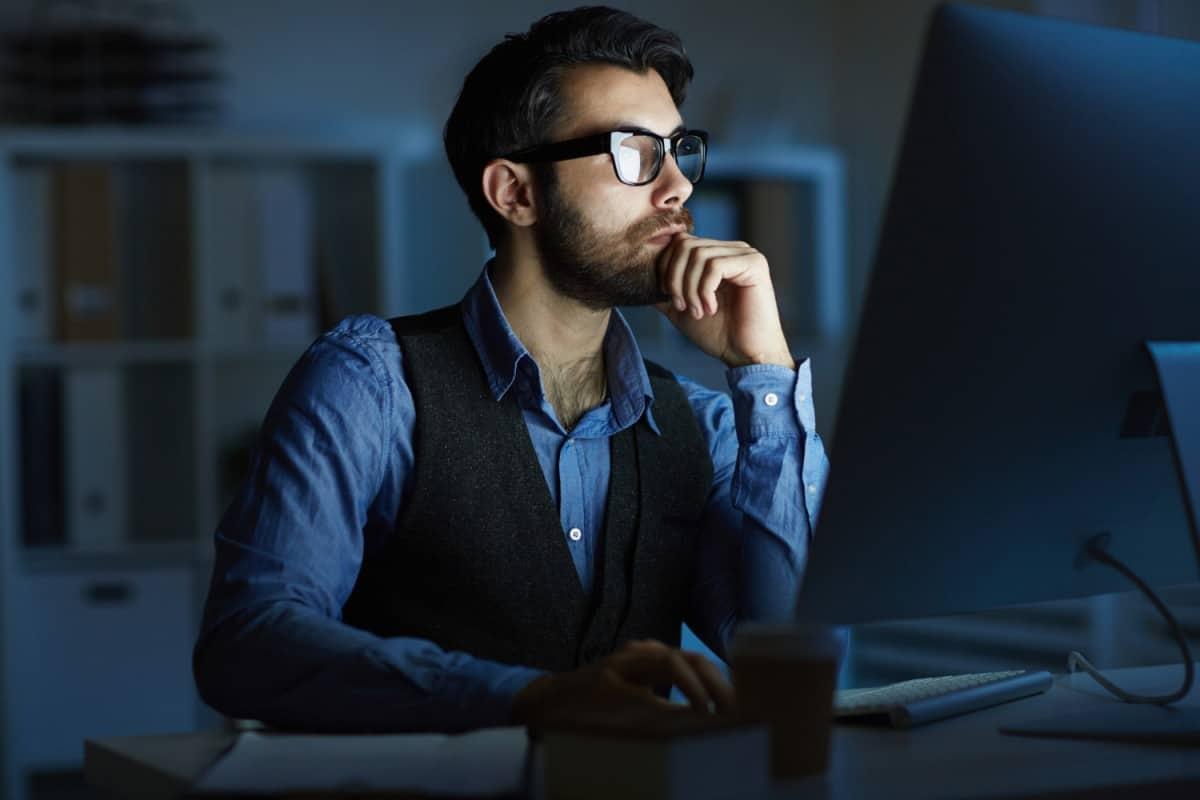 Man looking at PC
