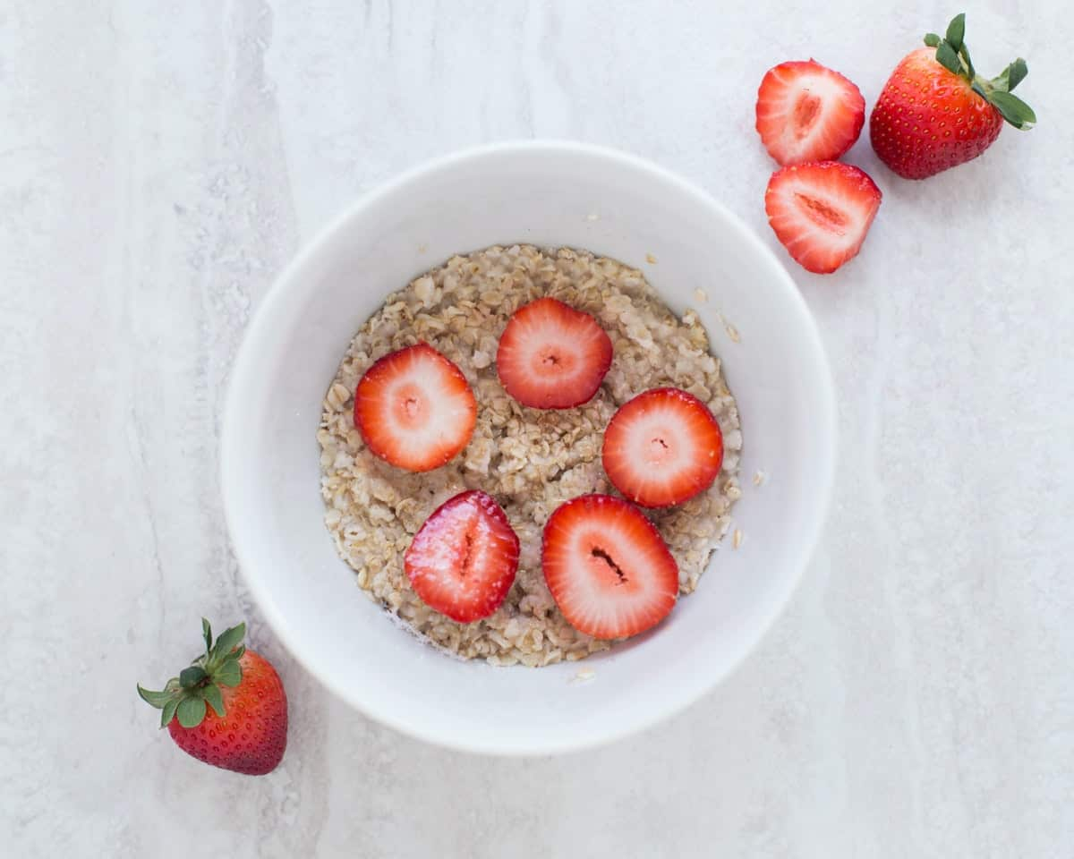 oatmeal topped with strawberries