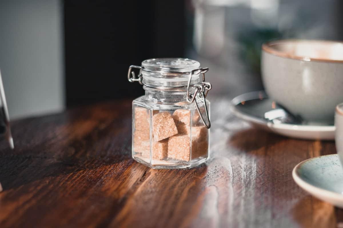 sugar cubes in jar