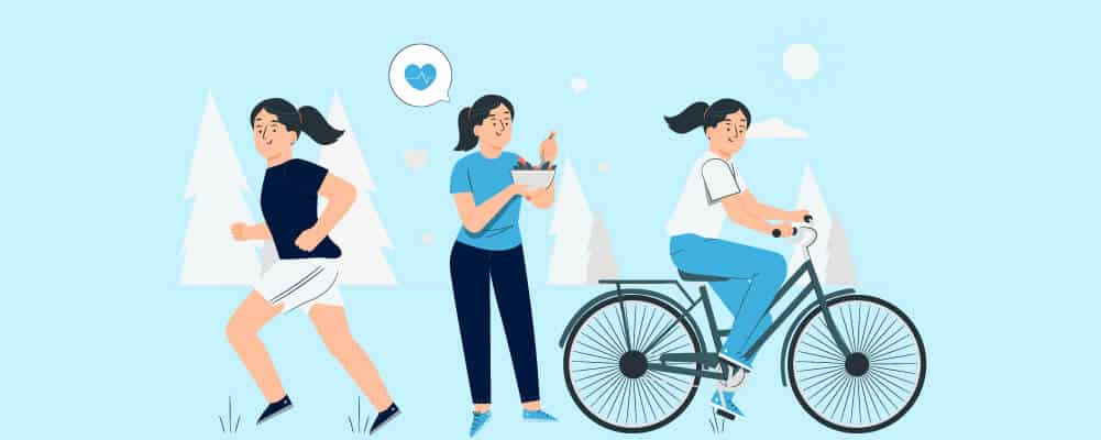 Woman exercising and eating healthy to increase her energy