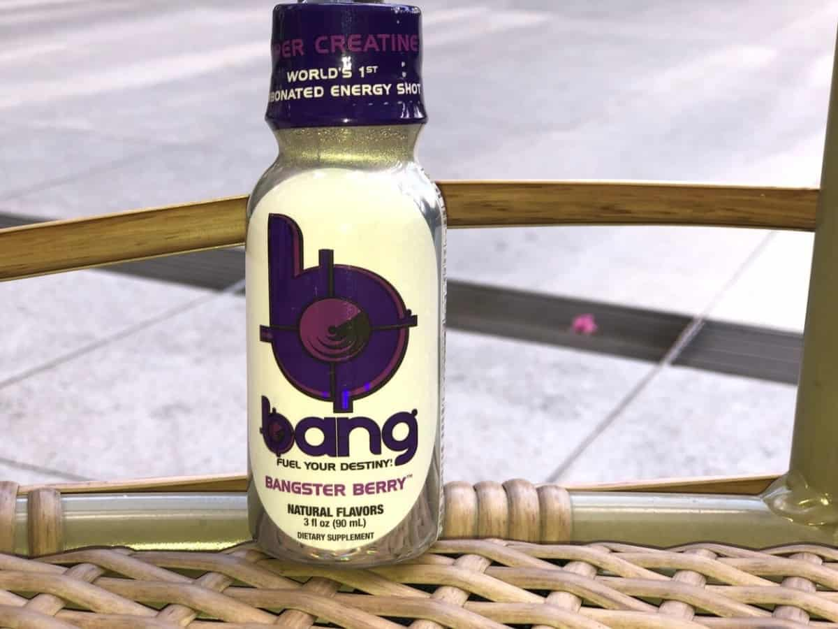 A 3 fl.oz bottle of Bang Energy Shot.