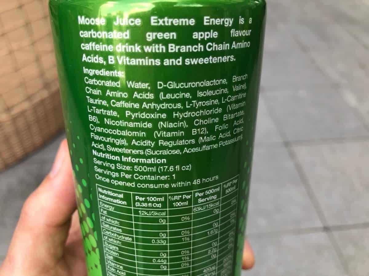 The ingredients present in a 500ml of Moose Juice.