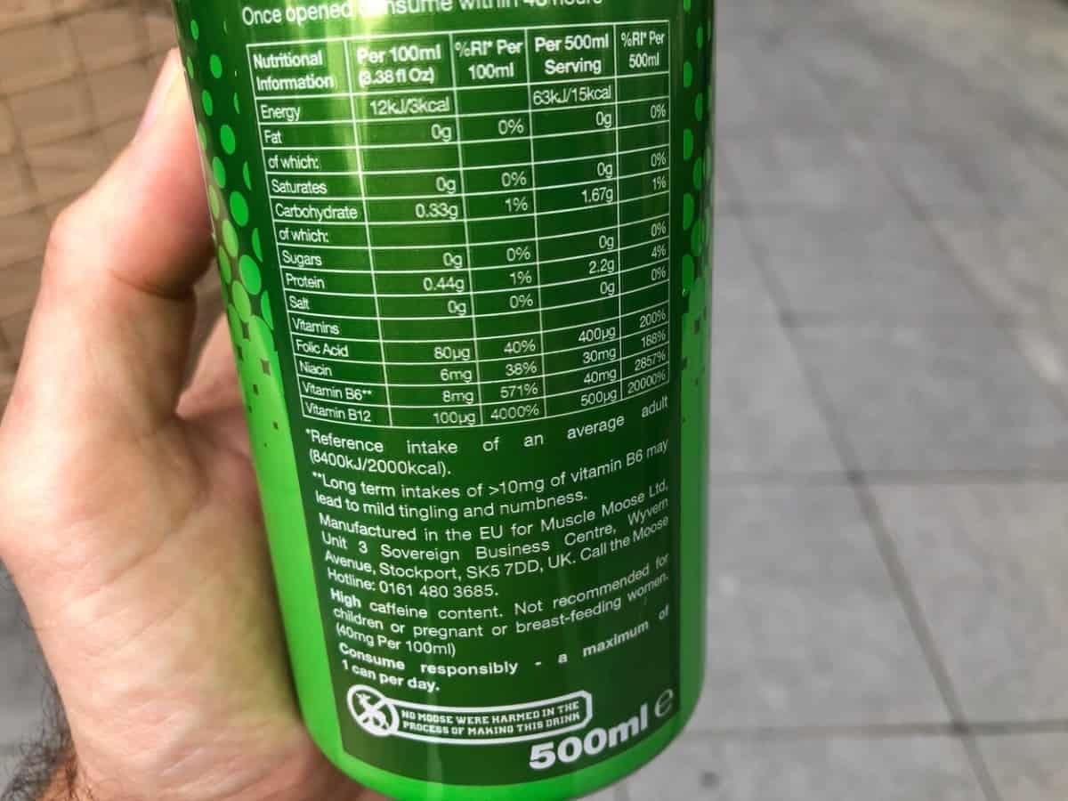 Nutritional Information of Moose Juice.
