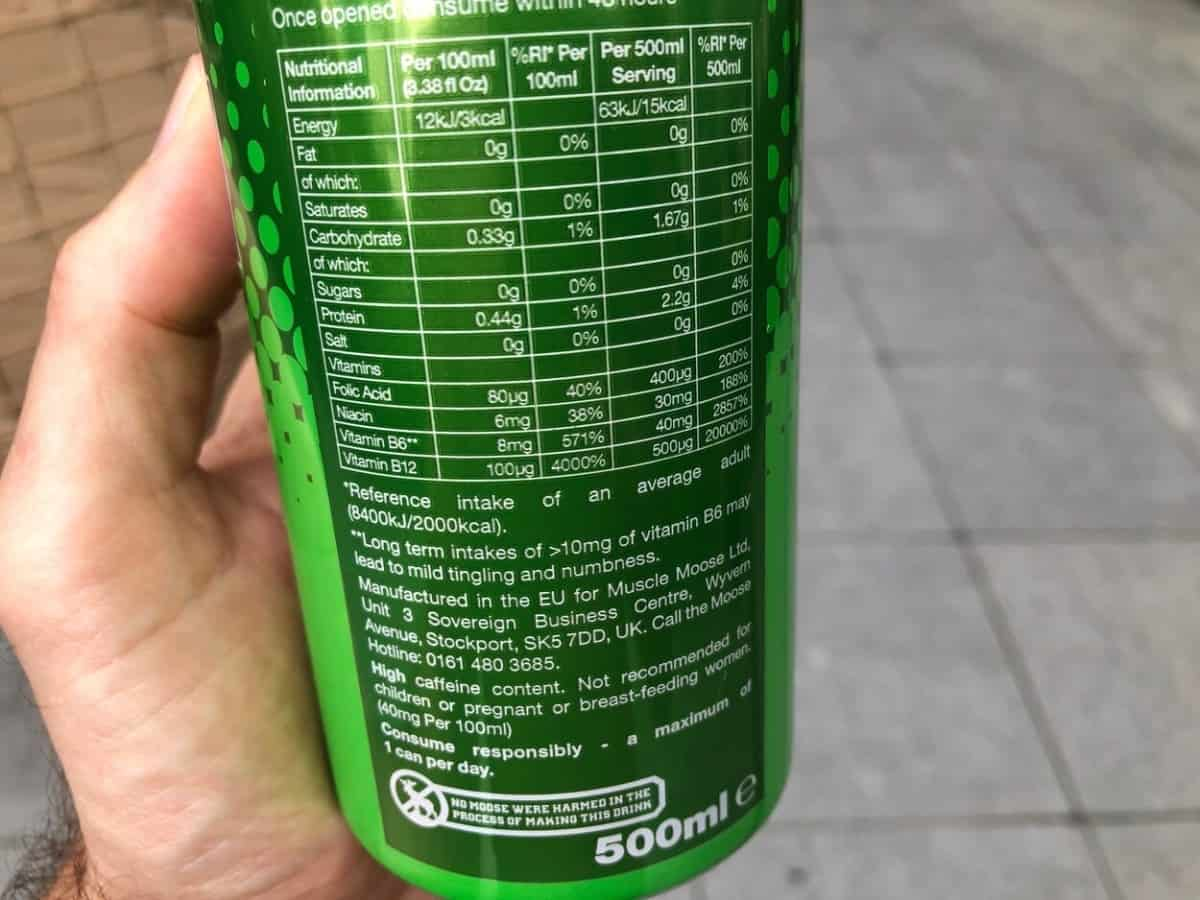 The Nutritional Information printed at the back of the can of Moose Juice.