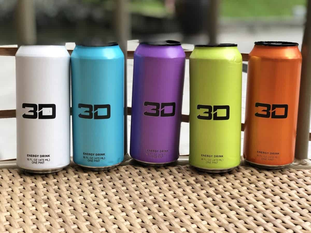 Cans of 3D Energy Drink