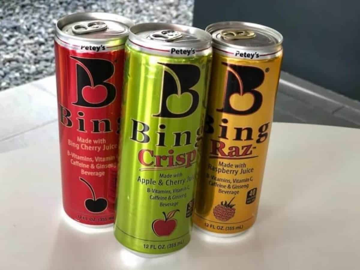 Three Bing energy cans