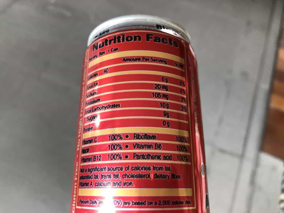 Bing nutrition facts at the back of the can