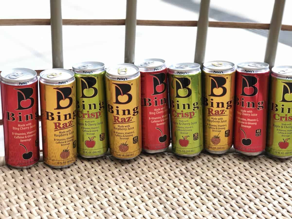 Bing Energy cans lined up