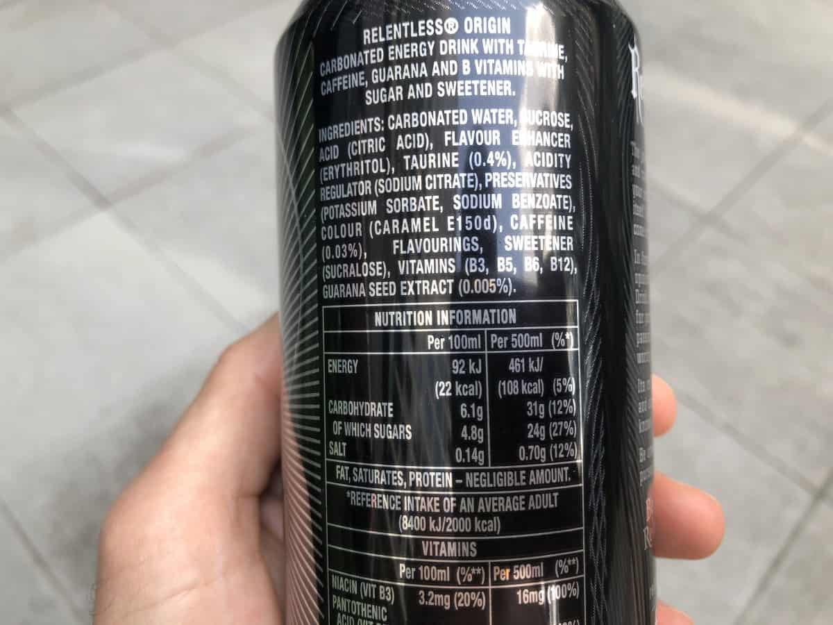 Ingredients given on a Relentless can