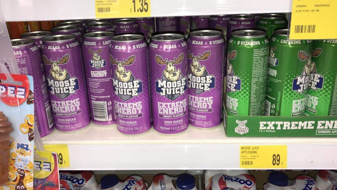 Moose Juice cans on shelf
